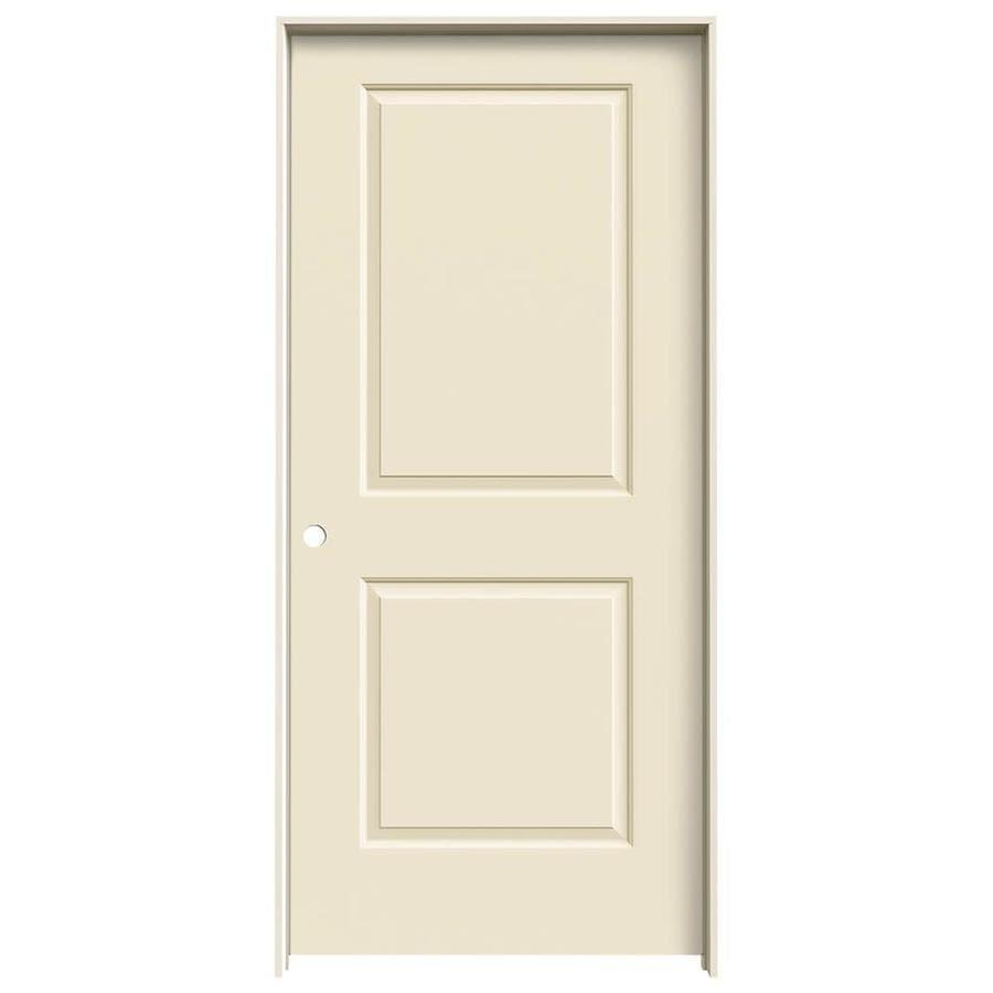 JELD-WEN Cambridge Cream-n-sugar 2-panel Square Single Prehung Interior Door (Common: 36-in x 80-in; Actual: 37.562-in x 81.688-in)