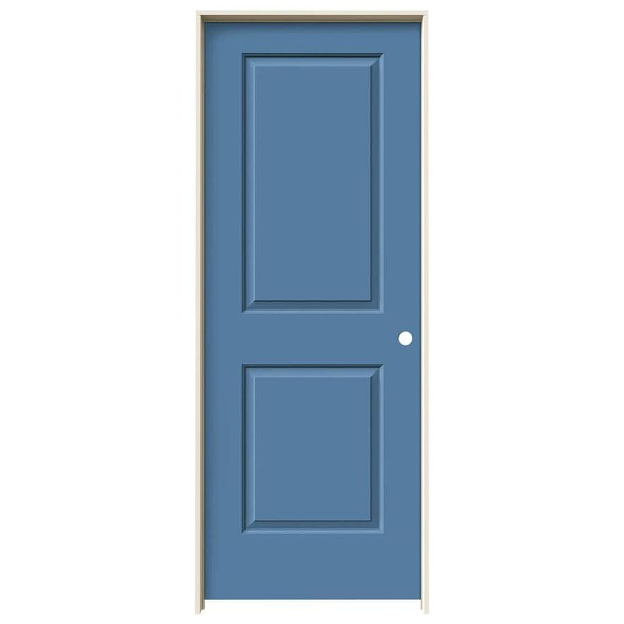 JELD-WEN Cambridge Blue Heron Prehung Solid Core 2-Panel Square Interior Door (Common: 30-in x 80-in; Actual: 31.562-in x 81.688-in)