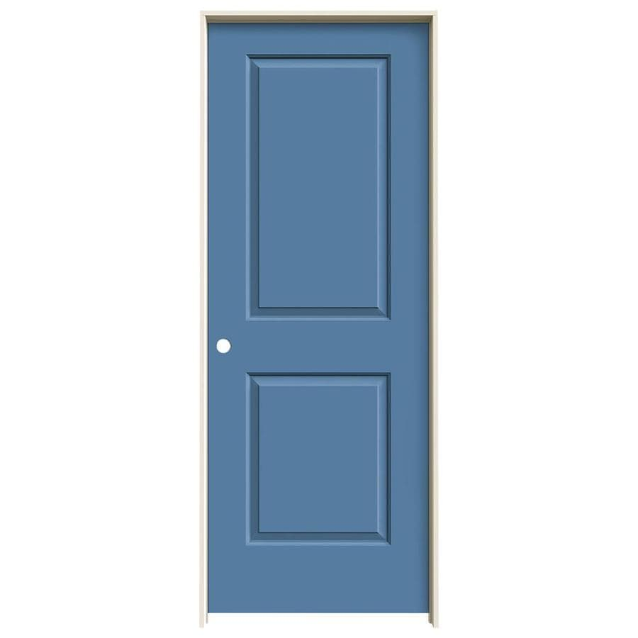 JELD-WEN Cambridge Blue Heron Solid Core Molded Composite Single Prehung Interior Door (Common: 32-in x 80-in; Actual: 33.562-in x 81.688-in)