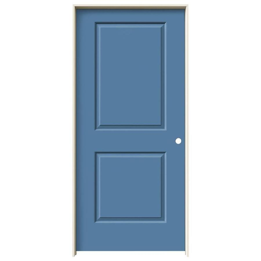 JELD-WEN Cambridge Blue Heron Prehung Solid Core 2-Panel Square Interior Door (Common: 36-in x 80-in; Actual: 37.562-in x 81.688-in)