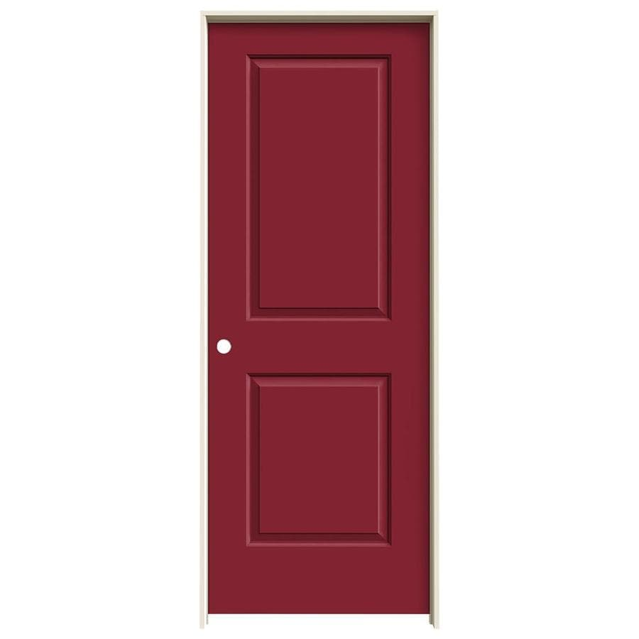 JELD-WEN Barn Red Prehung Solid Core 2-Panel Square Interior Door (Common: 30-in x 80-in; Actual: 31.562-in x 81.688-in)