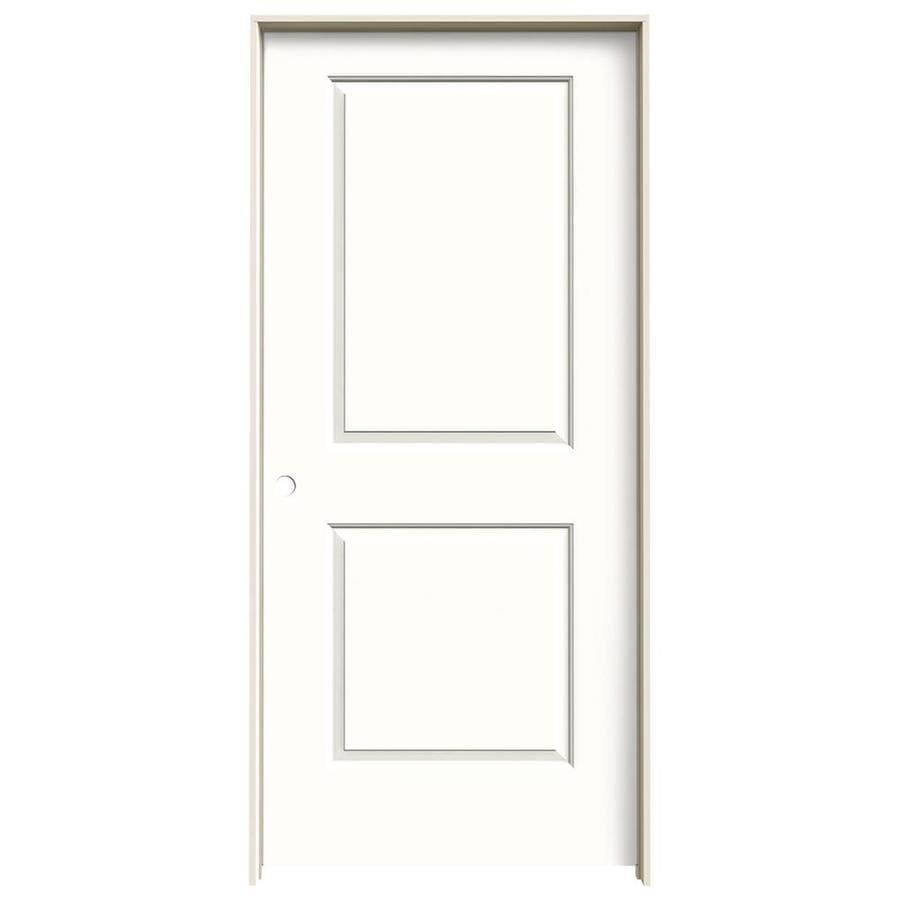 JELD-WEN Cambridge Snow Storm 2-panel Square Single Prehung Interior Door (Common: 36-in x 80-in; Actual: 37.562-in x 81.688-in)