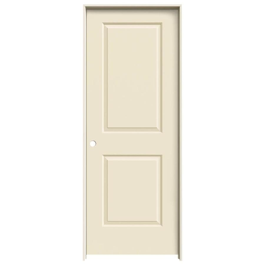 JELD-WEN Cambridge Cream-N-Sugar Prehung Hollow Core 2-Panel Square Interior Door (Common: 32-in x 80-in; Actual: 33.562-in x 81.688-in)