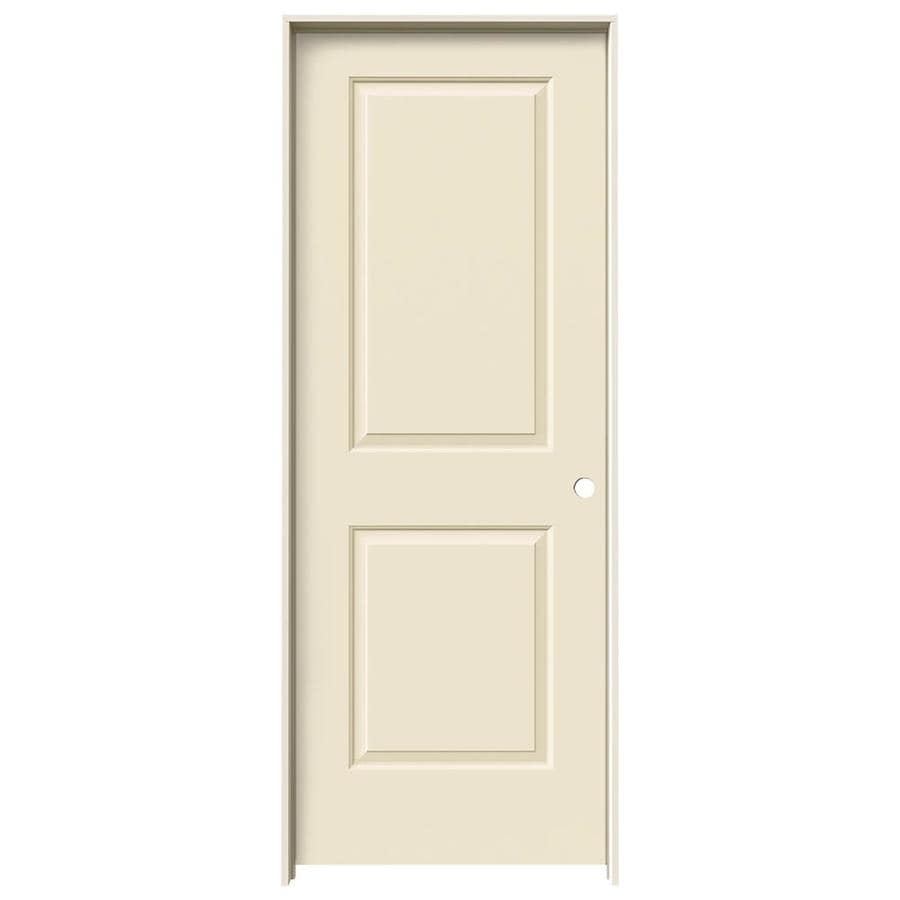 JELD-WEN Cambridge Cream-n-sugar 2-panel Square Single Prehung Interior Door (Common: 32-in x 80-in; Actual: 33.562-in x 81.688-in)