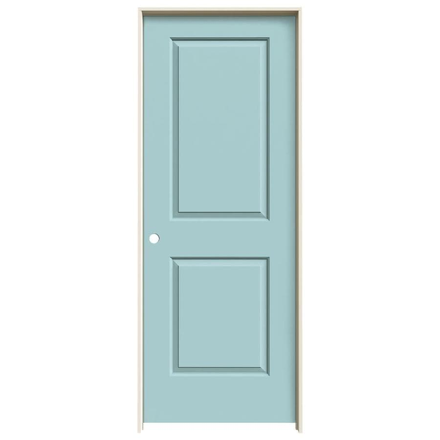 JELD-WEN Cambridge Sea Mist 2-panel Square Single Prehung Interior Door (Common: 30-in x 80-in; Actual: 31.562-in x 81.688-in)