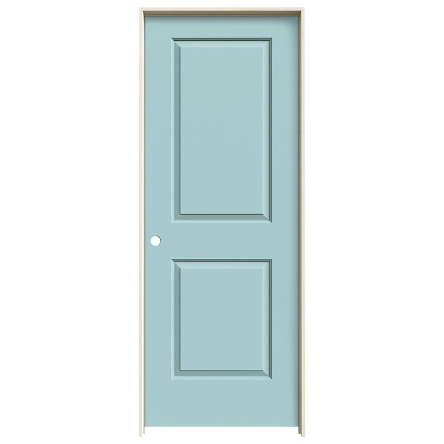 JELD-WEN Cambridge Sea Mist 2-panel Square Single Prehung Interior Door (Common: 32-in x 80-in; Actual: 33.562-in x 81.688-in)
