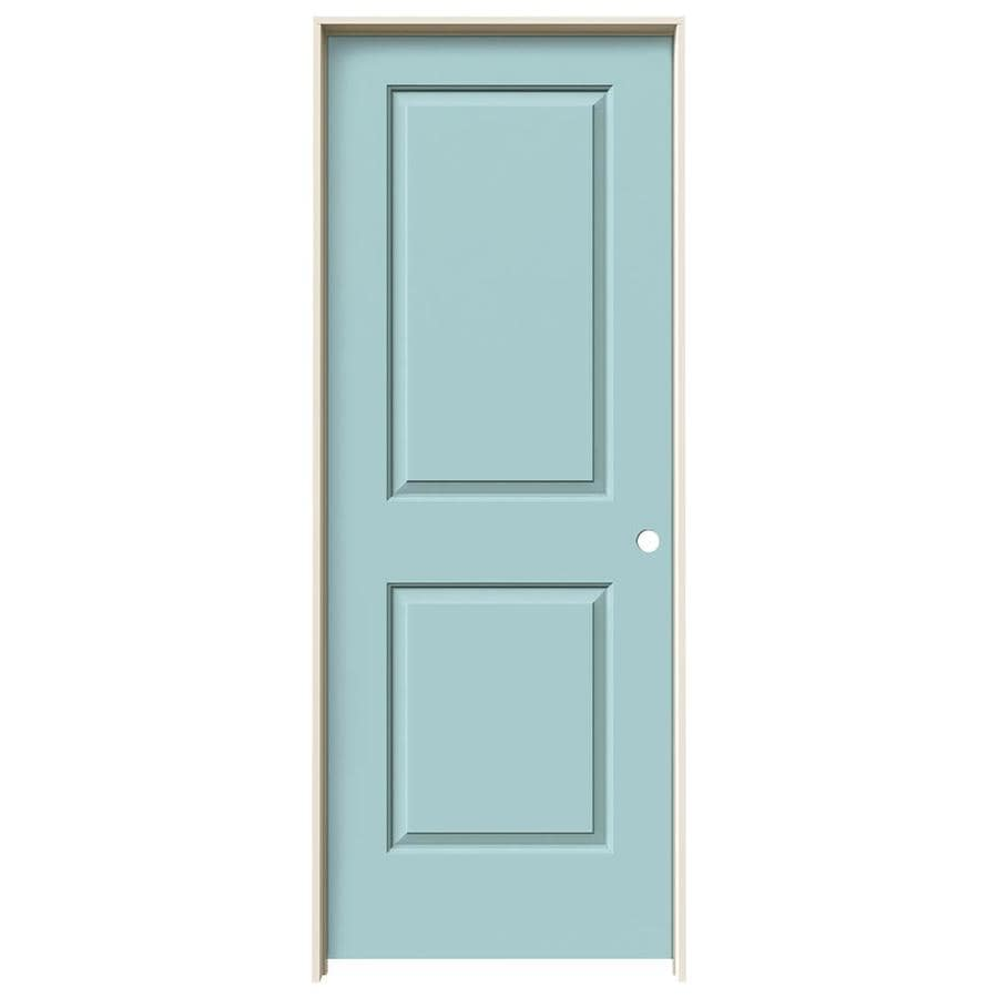 JELD-WEN Cambridge Sea Mist Prehung Hollow Core 2-Panel Square Interior Door (Common: 32-in x 80-in; Actual: 33.562-in x 81.688-in)