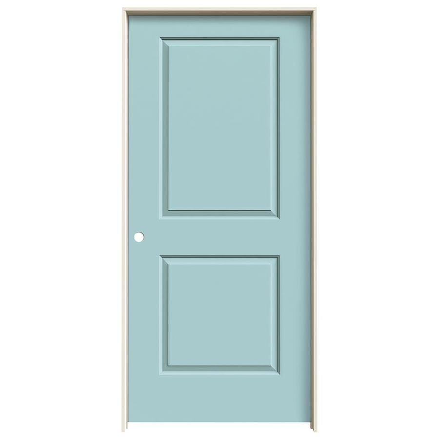 JELD-WEN Cambridge Sea Mist 2-panel Square Single Prehung Interior Door (Common: 36-in x 80-in; Actual: 37.5620-in x 81.6880-in)