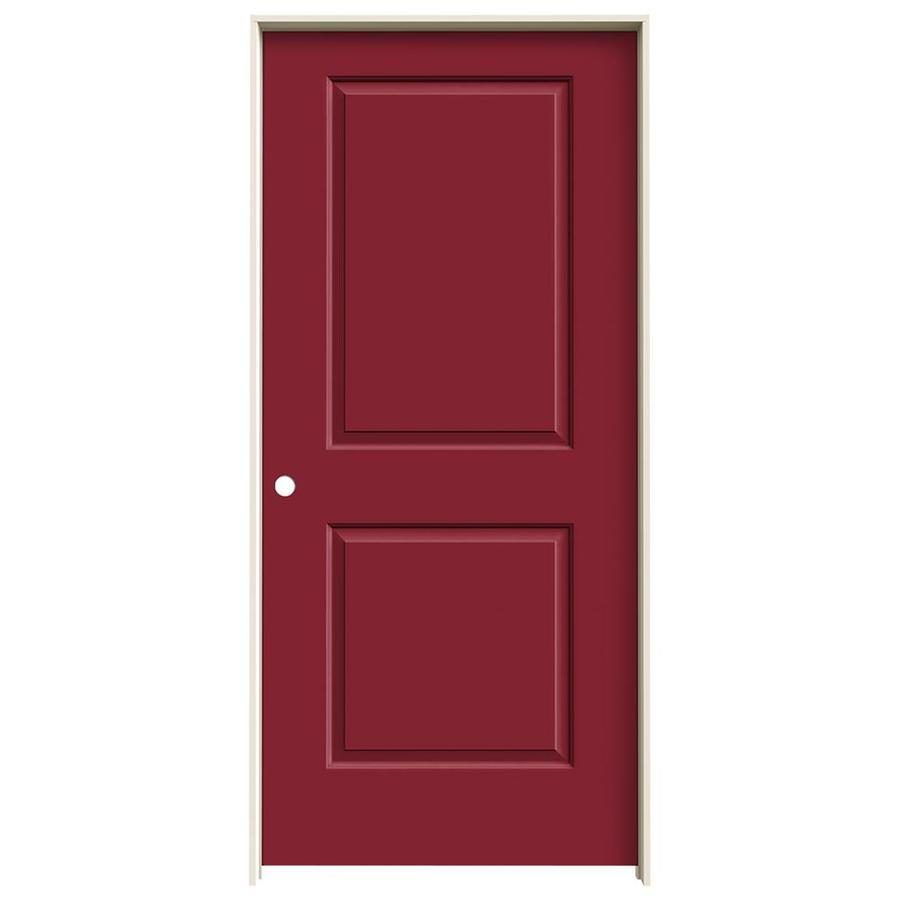 JELD-WEN Cambridge Barn Red Prehung Hollow Core 2-Panel Square Interior Door (Common: 36-in x 80-in; Actual: 37.562-in x 81.688-in)