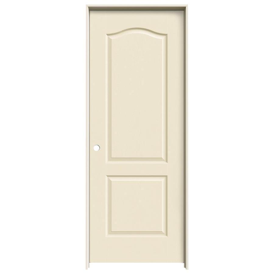 JELD-WEN Cream-n-sugar 2-panel Arch Top Single Prehung Interior Door (Common: 28-in x 80-in; Actual: 29.562-in x 81.688-in)