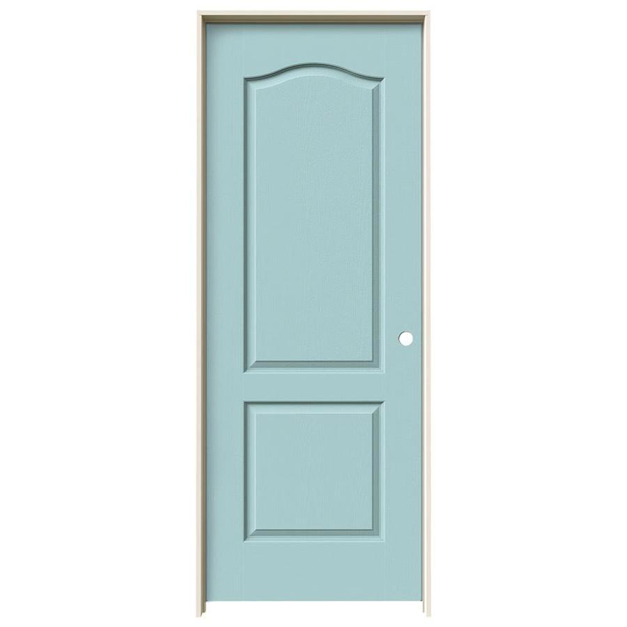 JELD-WEN Camden Sea Mist Single Prehung Interior Door (Common: 32-in x 80-in; Actual: 33.562-in x 81.688-in)