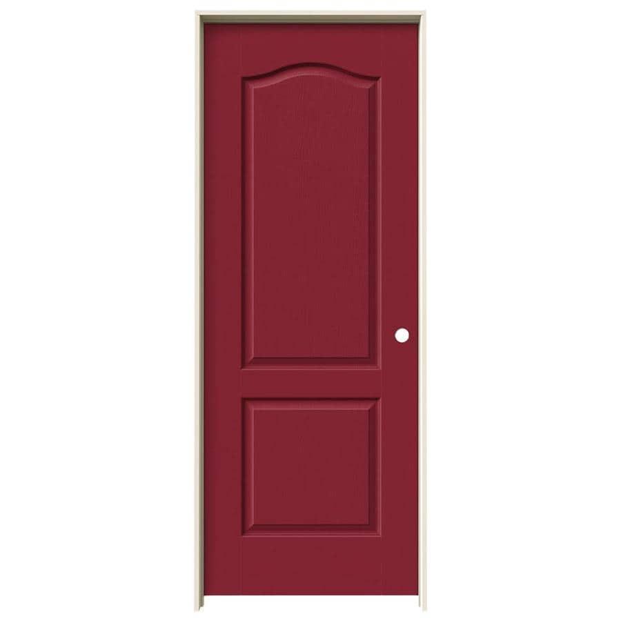 JELD-WEN Barn Red Prehung Hollow Core 2-Panel Arch Top Interior Door (Common: 32-in x 80-in; Actual: 33.562-in x 81.688-in)