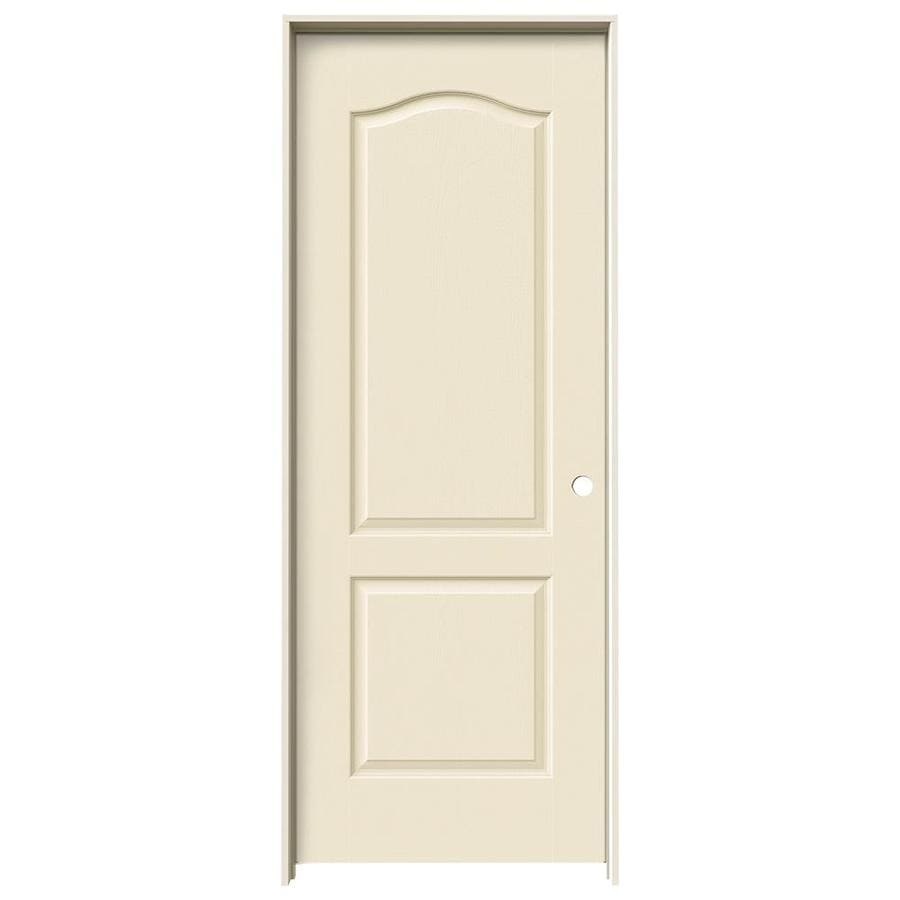 JELD-WEN Cream-n-sugar 2-panel Arch Top Single Prehung Interior Door (Common: 28-in x 80-in; Actual: 29.562-in x 81.688-in)