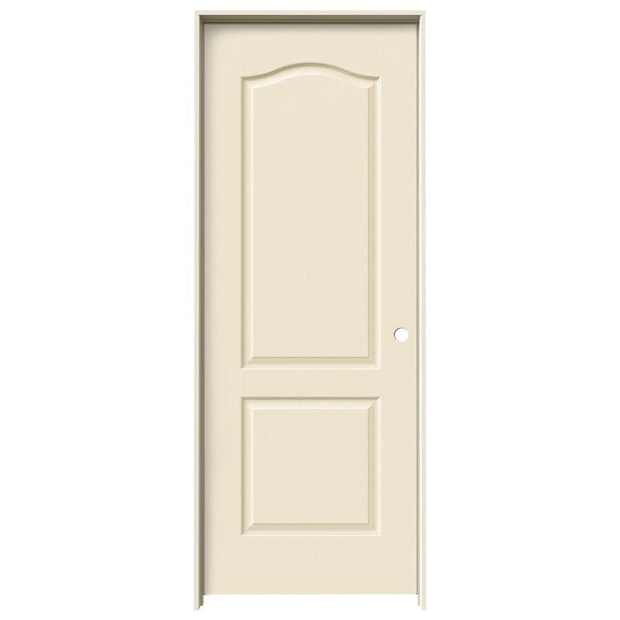 JELD-WEN Cream-N-Sugar Prehung Solid Core 2-Panel Arch Top Interior Door (Common: 28-in x 80-in; Actual: 29.562-in x 81.688-in)