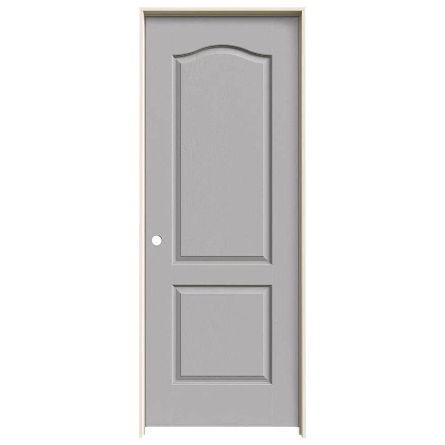 JELD-WEN Driftwood Prehung Solid Core 2-Panel Arch Top Interior Door (Common: 30-in x 80-in; Actual: 31.562-in x 81.688-in)