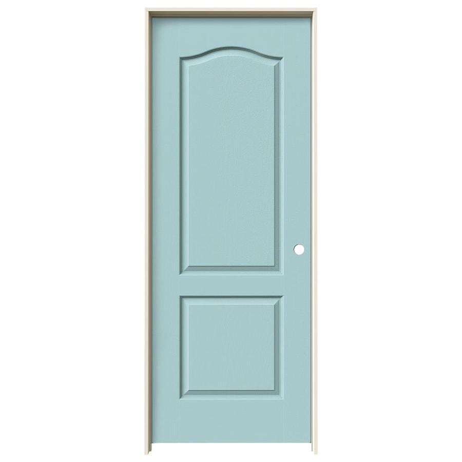 JELD-WEN Sea Mist Prehung Solid Core 2-Panel Arch Top Interior Door (Common: 28-in x 80-in; Actual: 29.562-in x 81.688-in)