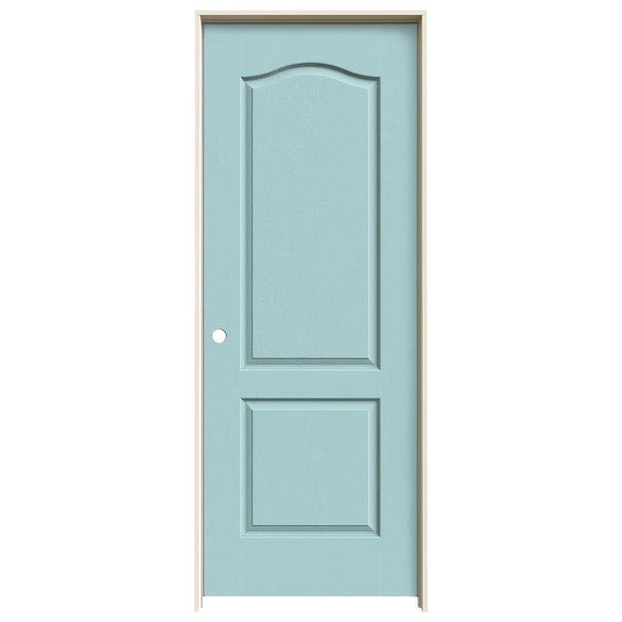 JELD-WEN Sea Mist Prehung Solid Core 2-Panel Arch Top Interior Door (Common: 30-in x 80-in; Actual: 31.562-in x 81.688-in)