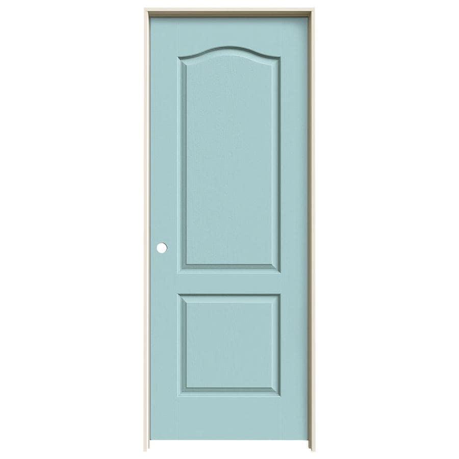 JELD-WEN Sea Mist Prehung Solid Core 2-Panel Arch Top Interior Door (Common: 32-in x 80-in; Actual: 33.562-in x 81.688-in)