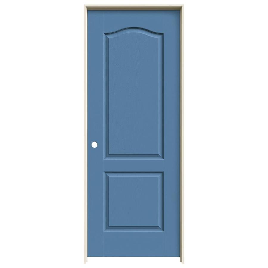 JELD-WEN Camden Blue Heron Single Prehung Interior Door (Common: 28-in x 80-in; Actual: 29.562-in x 81.688-in)