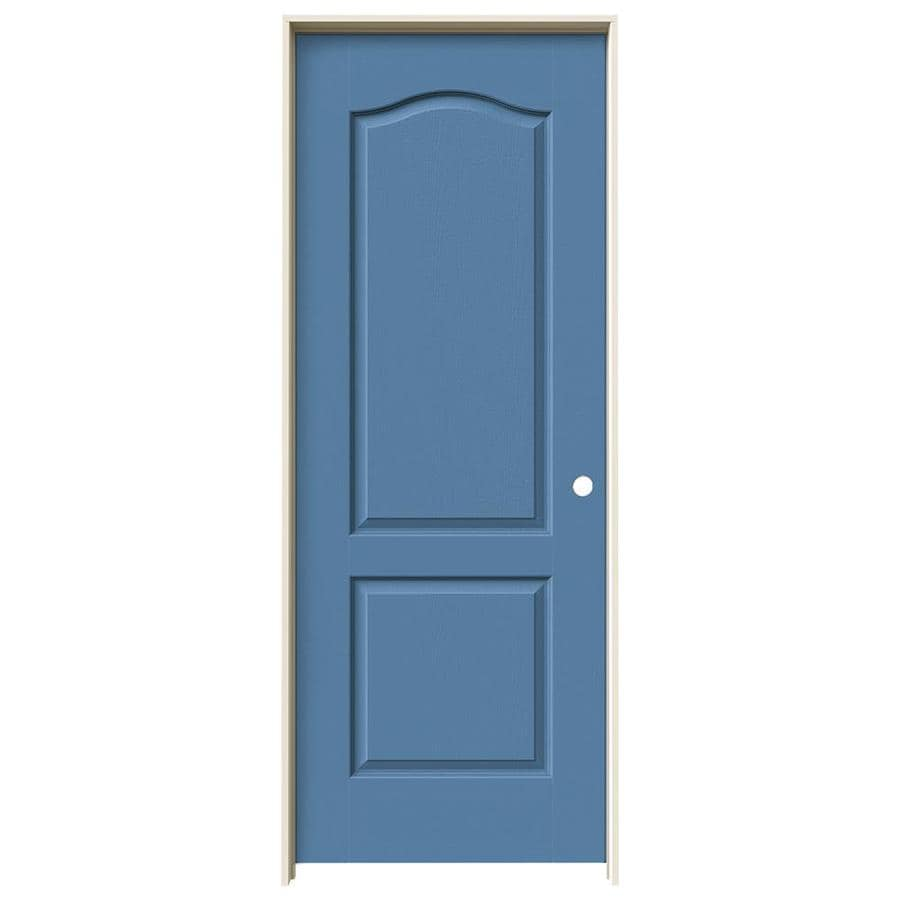 JELD-WEN Camden Blue Heron Solid Core Molded Composite Single Prehung Interior Door (Common: 32-in x 80-in; Actual: 33.562-in x 81.688-in)