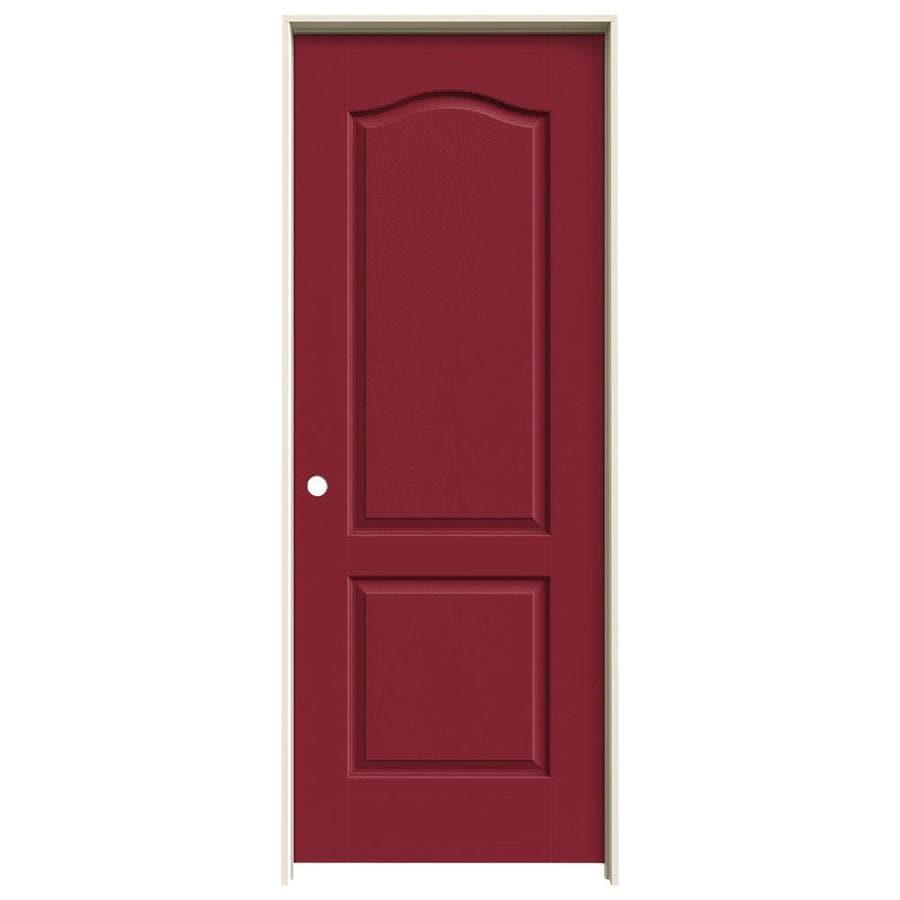 JELD-WEN Camden Barn Red Solid Core Molded Composite Single Prehung Interior Door (Common: 32-in x 80-in; Actual: 33.5620-in x 81.6880-in)