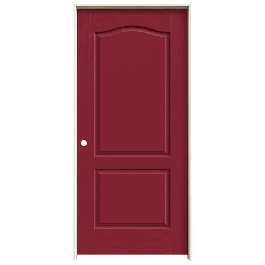JELD-WEN Barn Red Prehung Solid Core 2-Panel Arch Top Interior Door (Common: 36-in x 80-in; Actual: 37.562-in x 81.688-in)