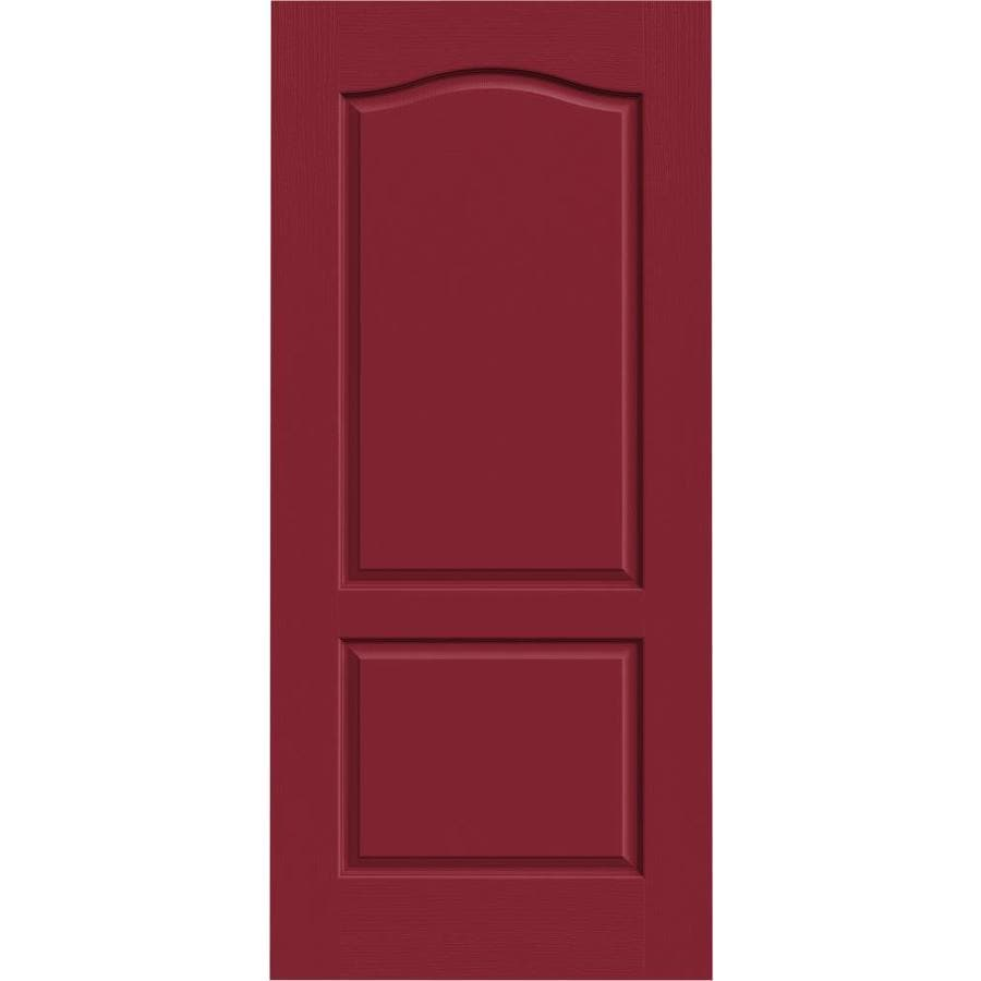 JELD-WEN Barn Red Solid Core 2-Panel Arch Top Slab Interior Door (Common: 36-in x 80-in; Actual: 36-in x 80-in)