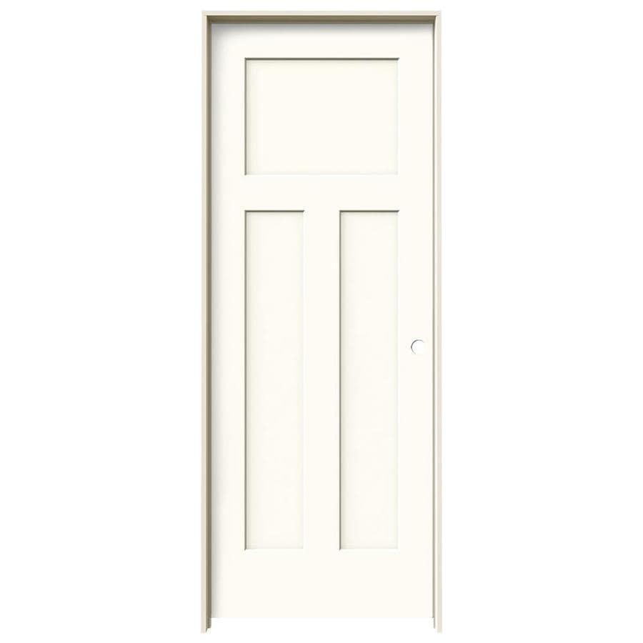 JELD-WEN Craftsman White 3-panel Craftsman Single Prehung Interior Door (Common: 28-in x 80-in; Actual: 29.562-in x 81.688-in)