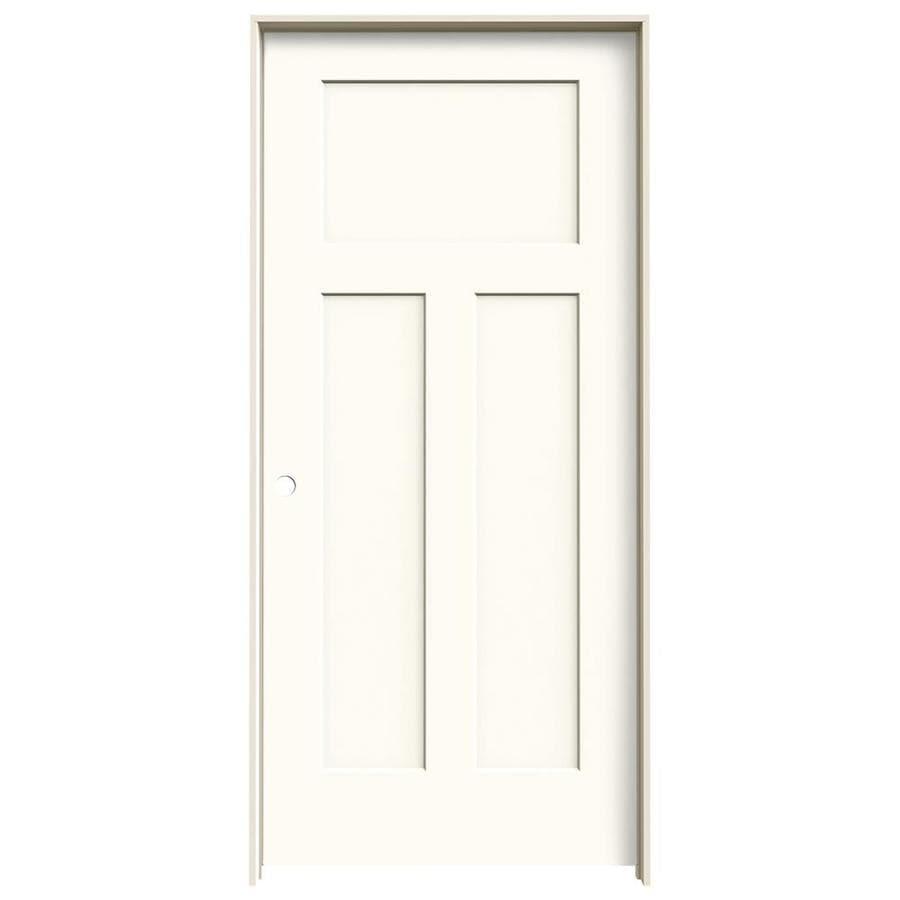 Shop Jeld Wen Craftsman White 3 Panel Craftsman Single Prehung Interior Door Common 36 In X 80