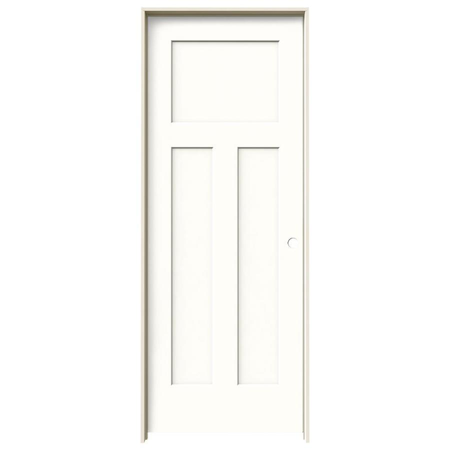 JELD-WEN Craftsman Snow Storm 3-panel Craftsman Single Prehung Interior Door (Common: 28-in x 80-in; Actual: 29.562-in x 81.688-in)