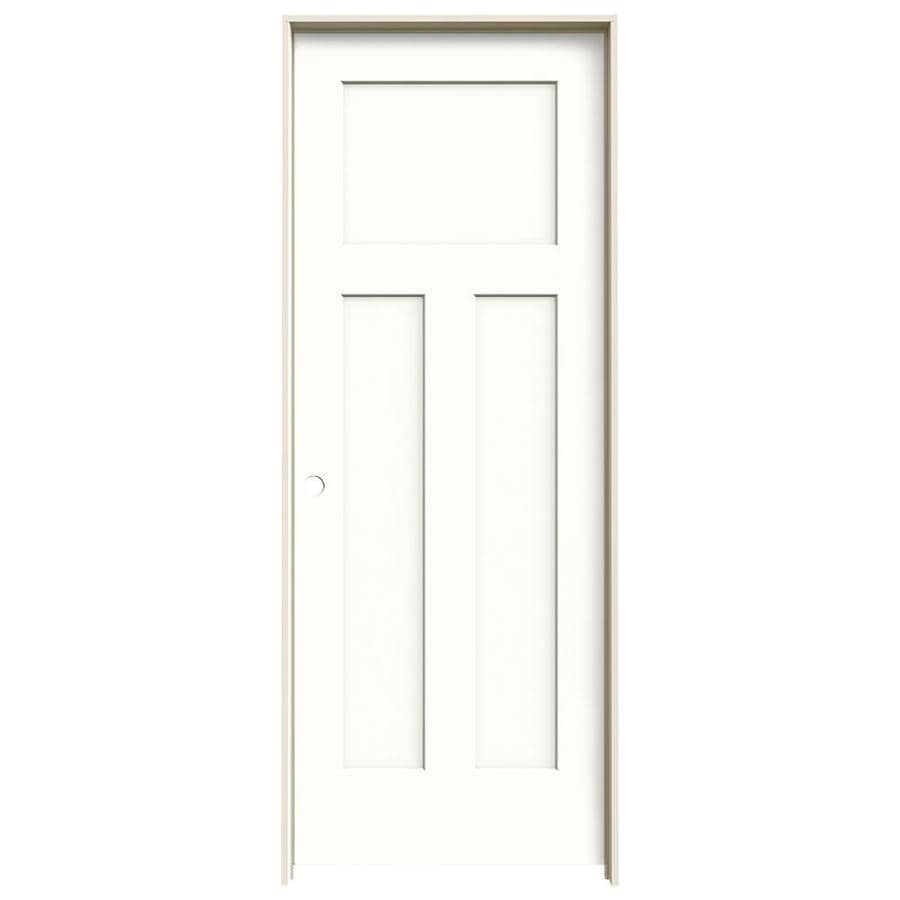 JELD-WEN Craftsman Snow Storm 3-panel Craftsman Single Prehung Interior Door (Common: 32-in x 80-in; Actual: 33.562-in x 81.688-in)