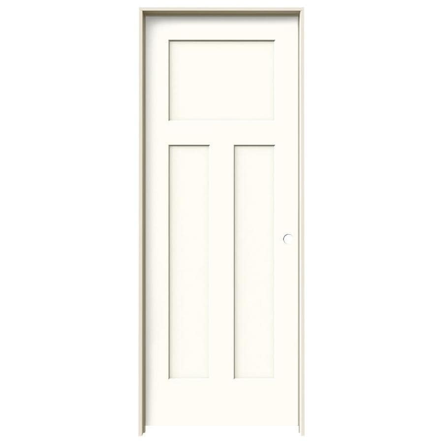 JELD-WEN Craftsman Moonglow Prehung Hollow Core 3-Panel Craftsman Interior Door (Common: 24-in x 80-in; Actual: 25.562-in x 81.688-in)