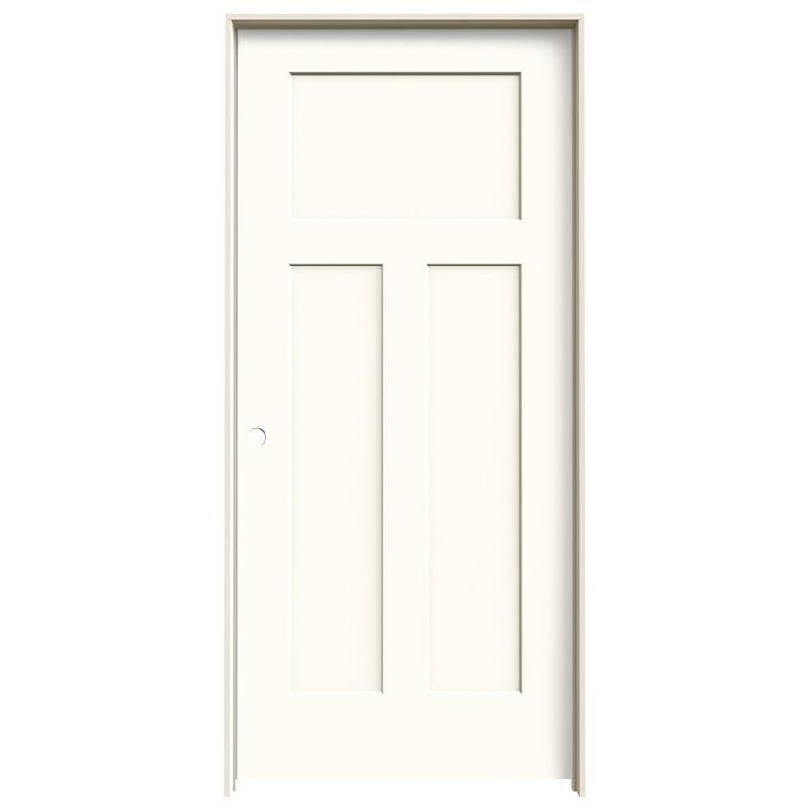 JELD-WEN Craftsman Moonglow 3-panel Craftsman Single Prehung Interior Door (Common: 36-in x 80-in; Actual: 37.562-in x 81.688-in)