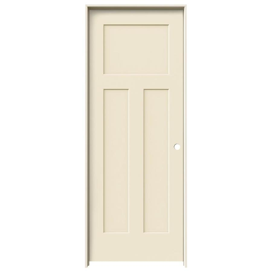 JELD-WEN Craftsman Cream-N-Sugar Hollow Core Molded Composite Single Prehung Interior Door (Common: 24-in x 80-in; Actual: 25.562-in x 81.688-in)