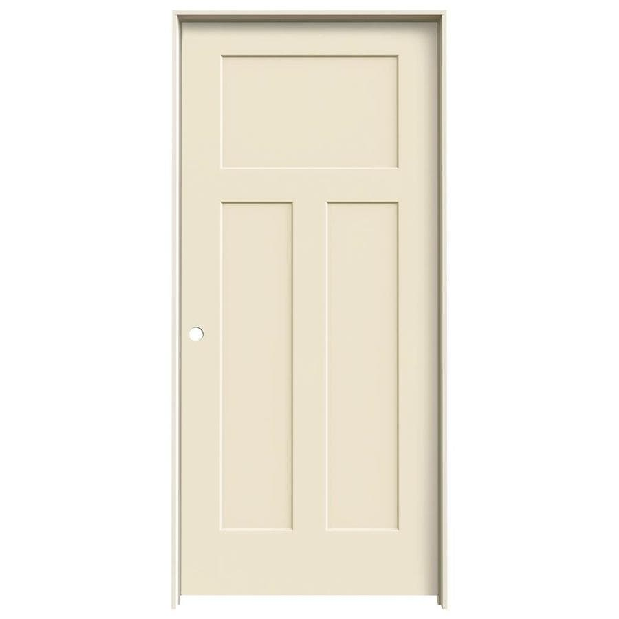 JELD-WEN Cream-N-Sugar Prehung Hollow Core 3-Panel Craftsman Interior Door (Common: 36-in x 80-in; Actual: 37.562-in x 81.688-in)