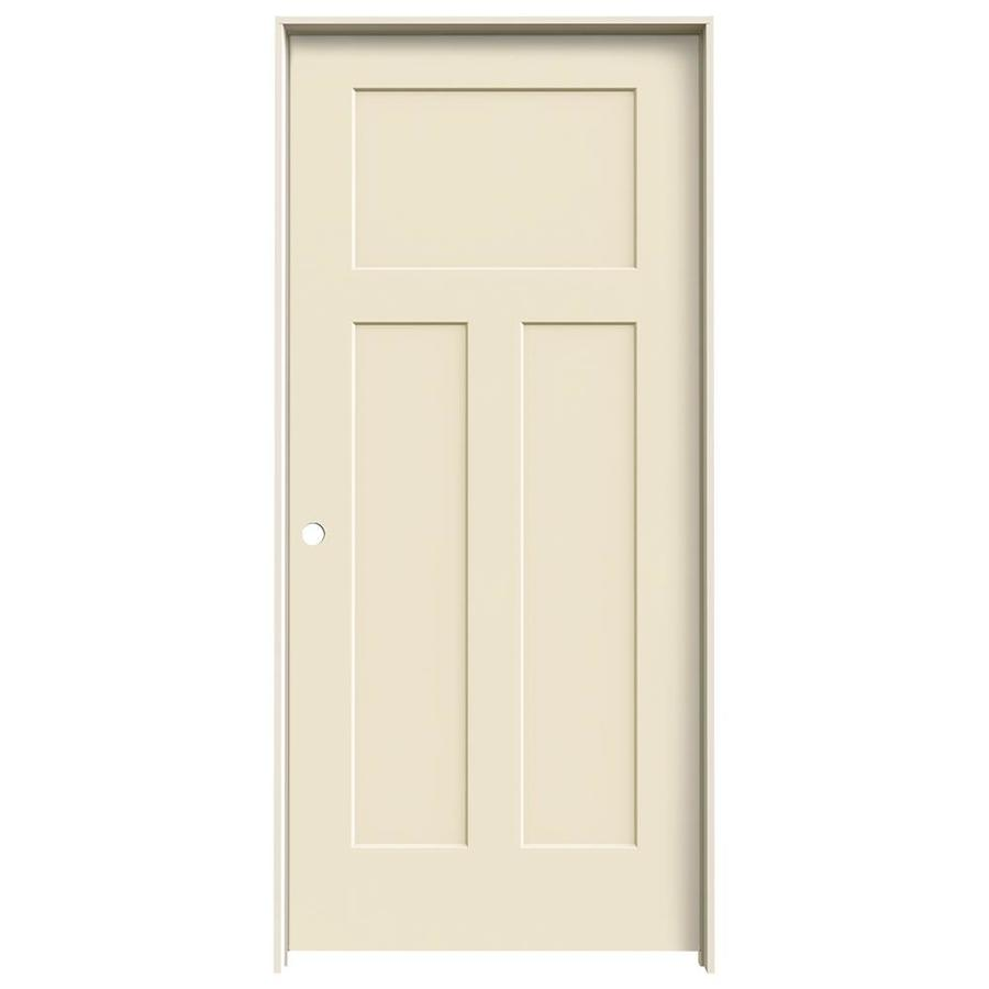 Shop Jeld Wen Craftsman Cream N Sugar 3 Panel Craftsman Hollow Core Molded Composite Single