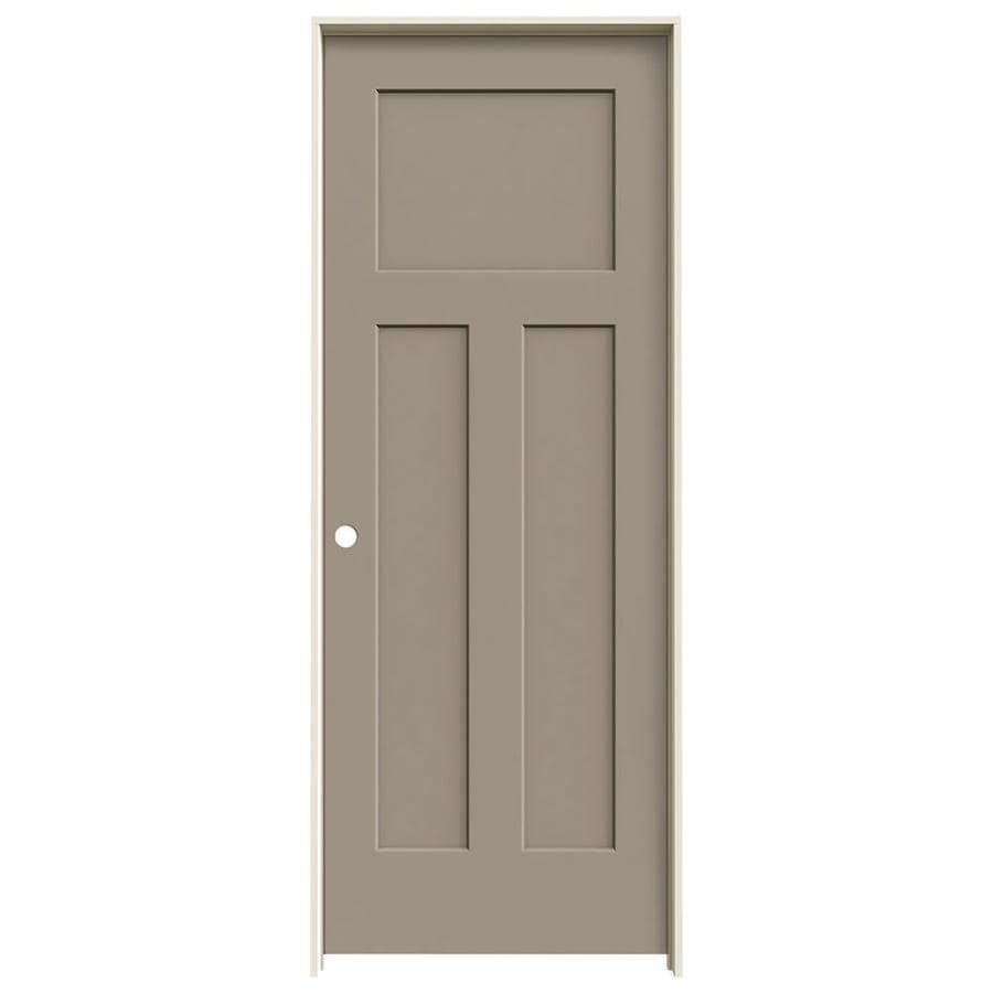 JELD-WEN Craftsman Sand Piper Prehung Hollow Core 3-Panel Craftsman Interior Door (Common: 28-in x 80-in; Actual: 29.562-in x 81.688-in)