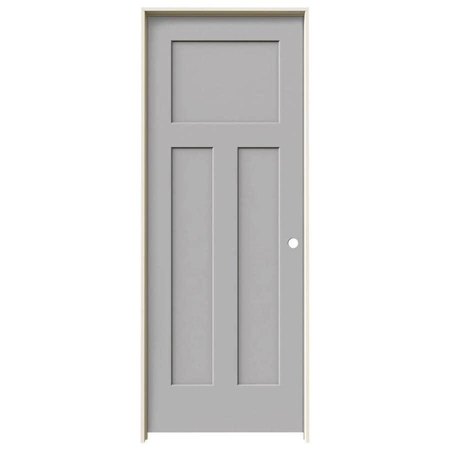 JELD-WEN Craftsman Driftwood 3-panel Craftsman Single Prehung Interior Door (Common: 28-in x 80-in; Actual: 29.562-in x 81.688-in)