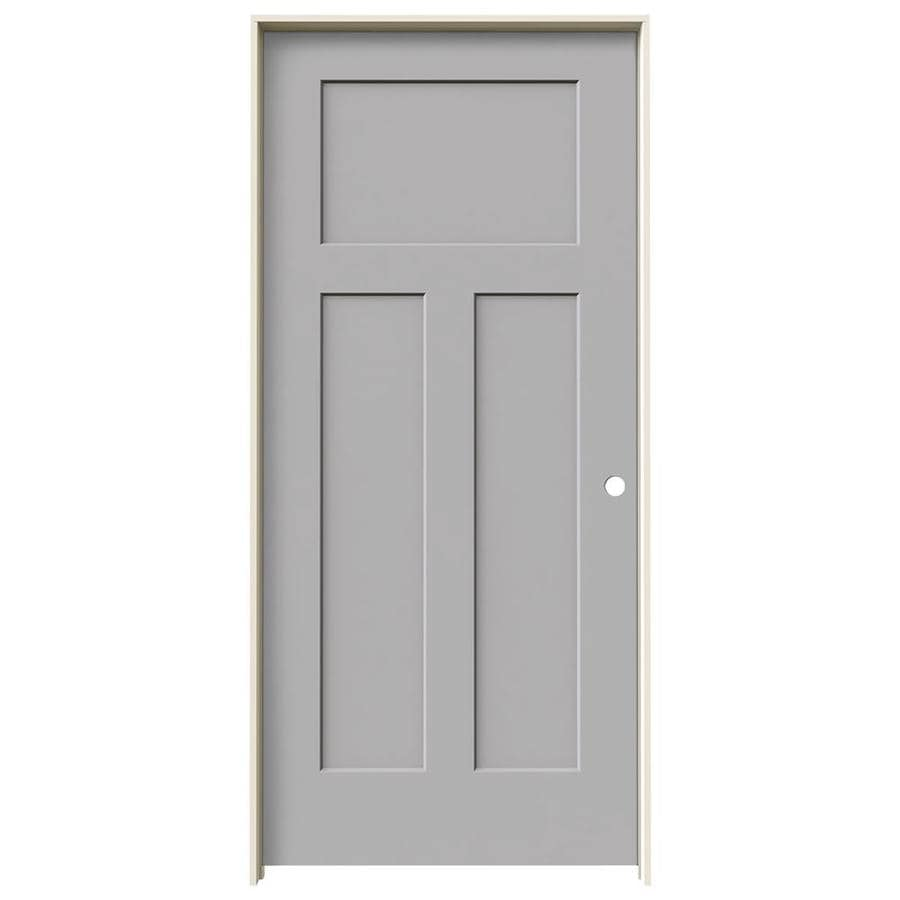 JELD-WEN Craftsman Driftwood 3-panel Craftsman Single Prehung Interior Door (Common: 36-in x 80-in; Actual: 37.562-in x 81.688-in)
