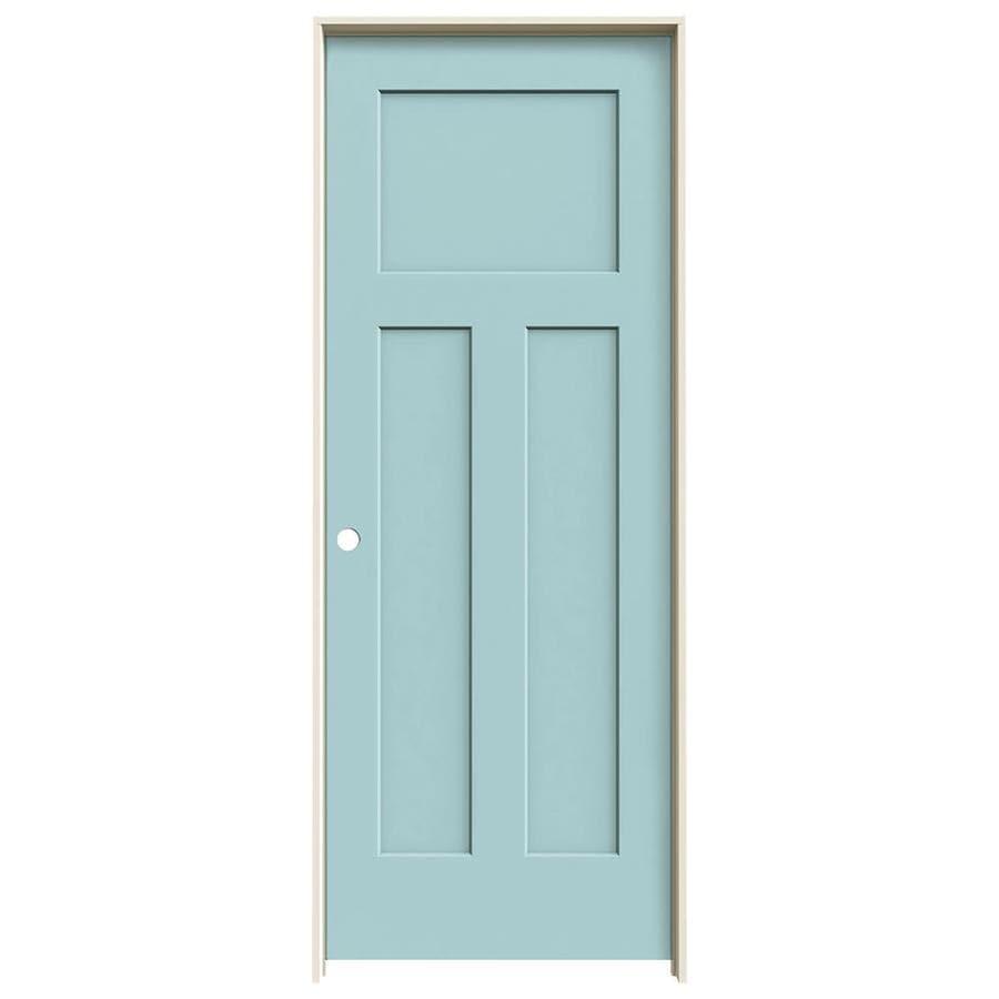 JELD-WEN Craftsman Sea Mist Prehung Hollow Core 3-Panel Craftsman Interior Door (Common: 28-in x 80-in; Actual: 29.562-in x 81.688-in)
