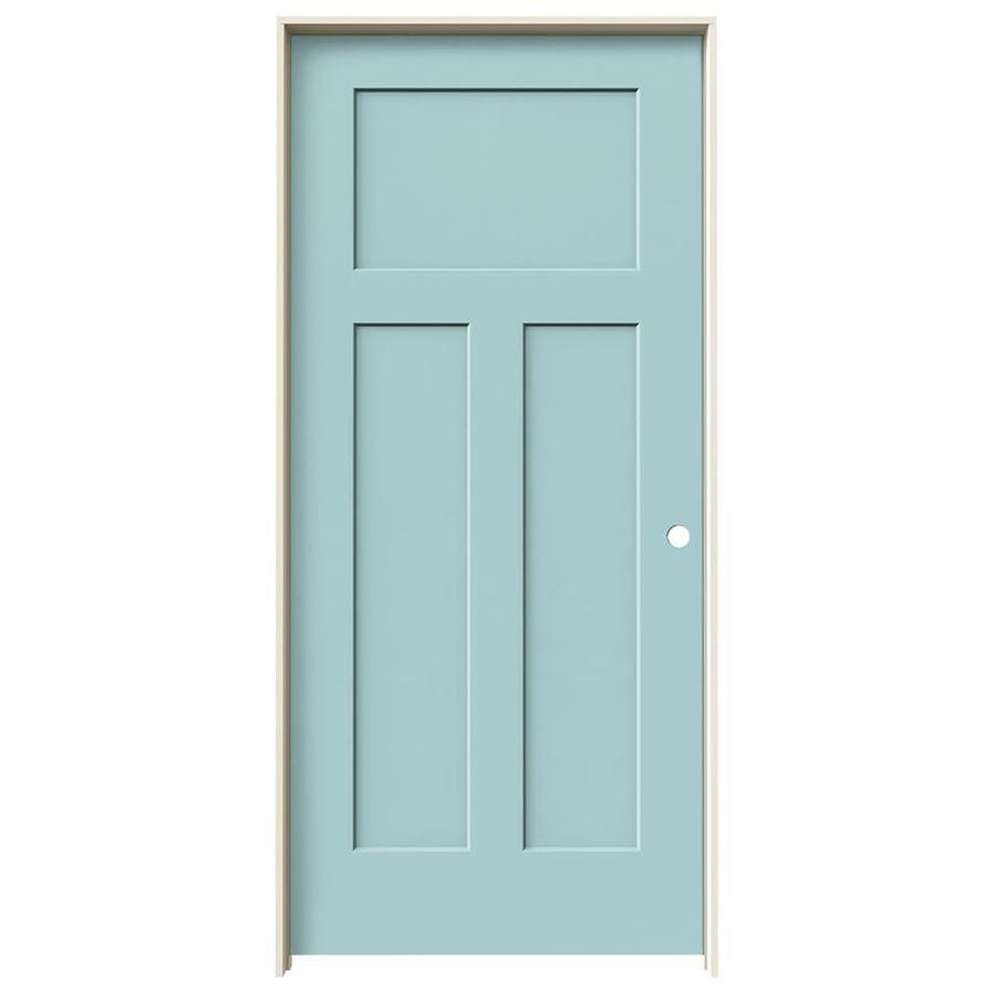 JELD-WEN Craftsman Sea Mist 3-panel Craftsman Single Prehung Interior Door (Common: 36-in x 80-in; Actual: 37.5620-in x 81.6880-in)