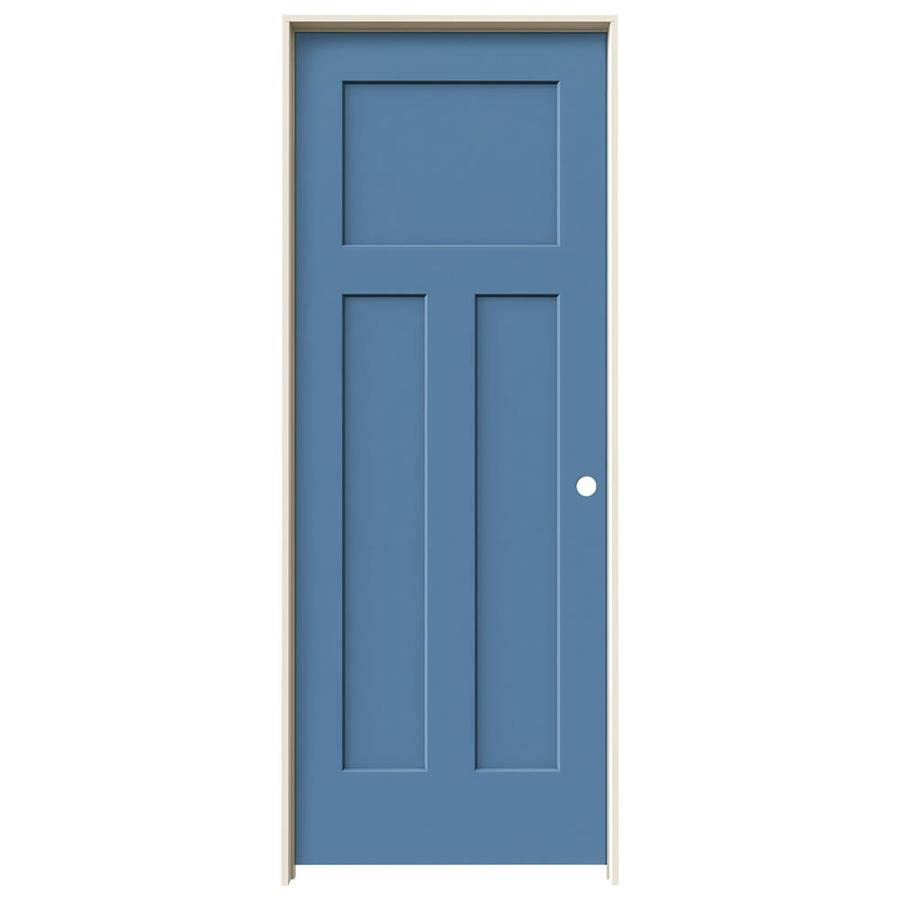 JELD-WEN Craftsman Blue Heron 3-panel Craftsman Single Prehung Interior Door (Common: 24-in x 80-in; Actual: 25.562-in x 81.688-in)