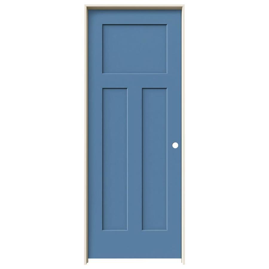 JELD-WEN Craftsman Blue Heron Prehung Hollow Core 3-Panel Craftsman Interior Door (Common: 28-in x 80-in; Actual: 29.562-in x 81.688-in)