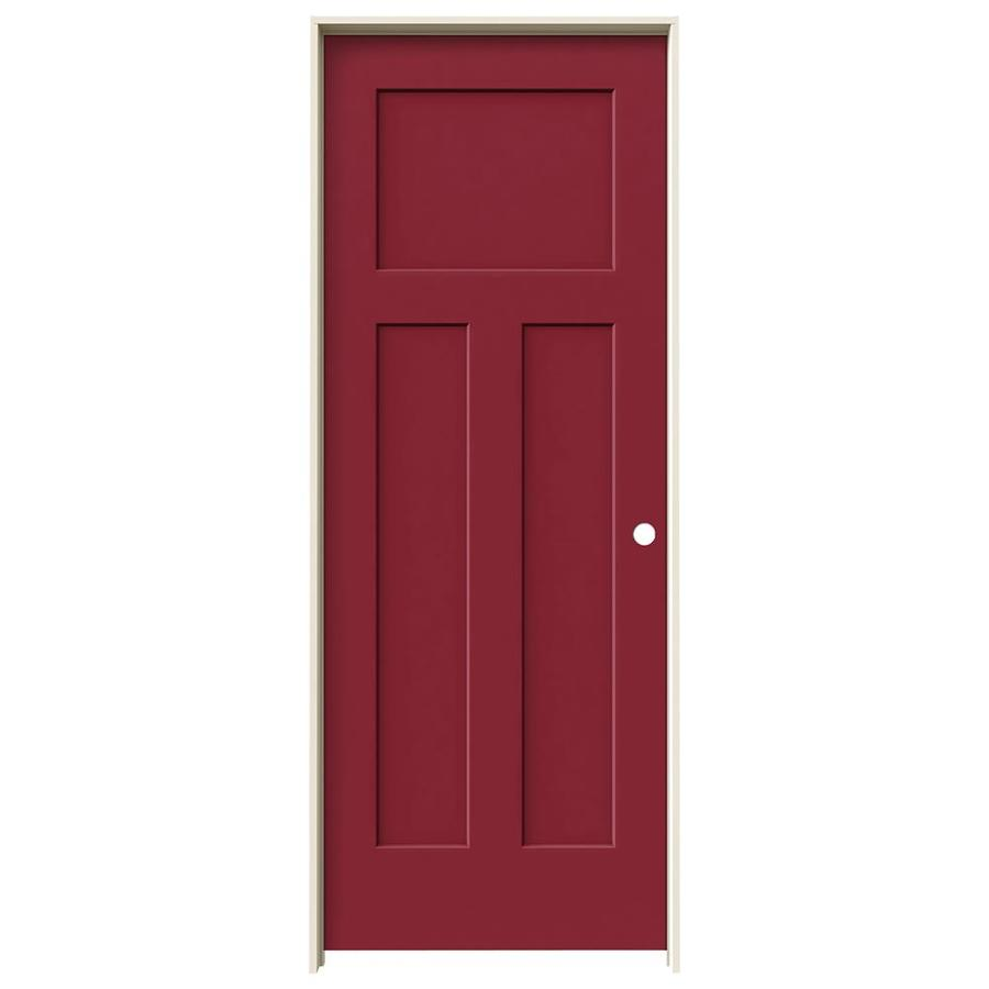 JELD-WEN Craftsman Barn Red Prehung Hollow Core 3-Panel Craftsman Interior Door (Common: 32-in x 80-in; Actual: 33.562-in x 81.688-in)