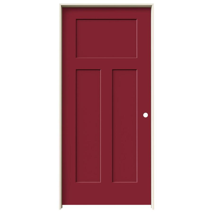 JELD-WEN Craftsman Barn Red Prehung Hollow Core 3-Panel Craftsman Interior Door (Common: 36-in x 80-in; Actual: 37.5620-in x 81.6880-in)