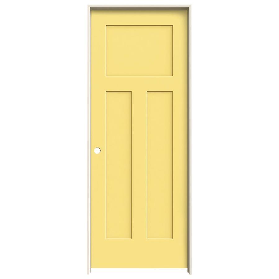 JELD-WEN Craftsman Marigold Prehung Hollow Core 3-Panel Craftsman Interior Door (Common: 30-in x 80-in; Actual: 31.562-in x 81.688-in)