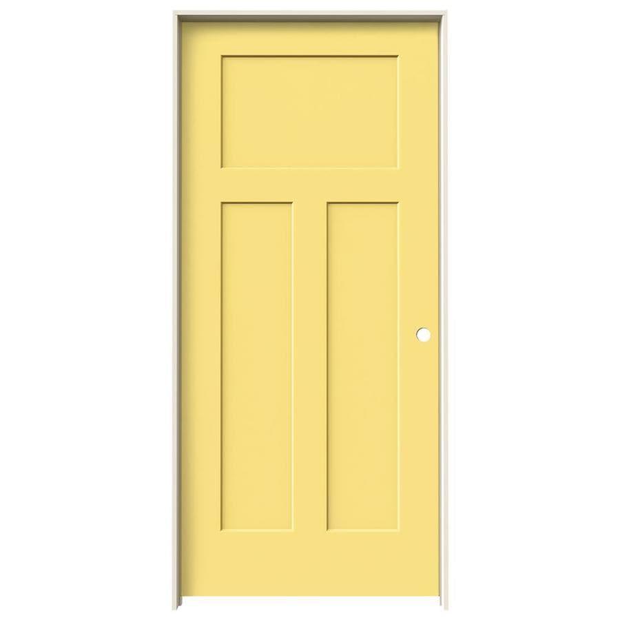 JELD-WEN Craftsman Marigold 3-panel Craftsman Single Prehung Interior Door (Common: 36-in x 80-in; Actual: 37.562-in x 81.688-in)
