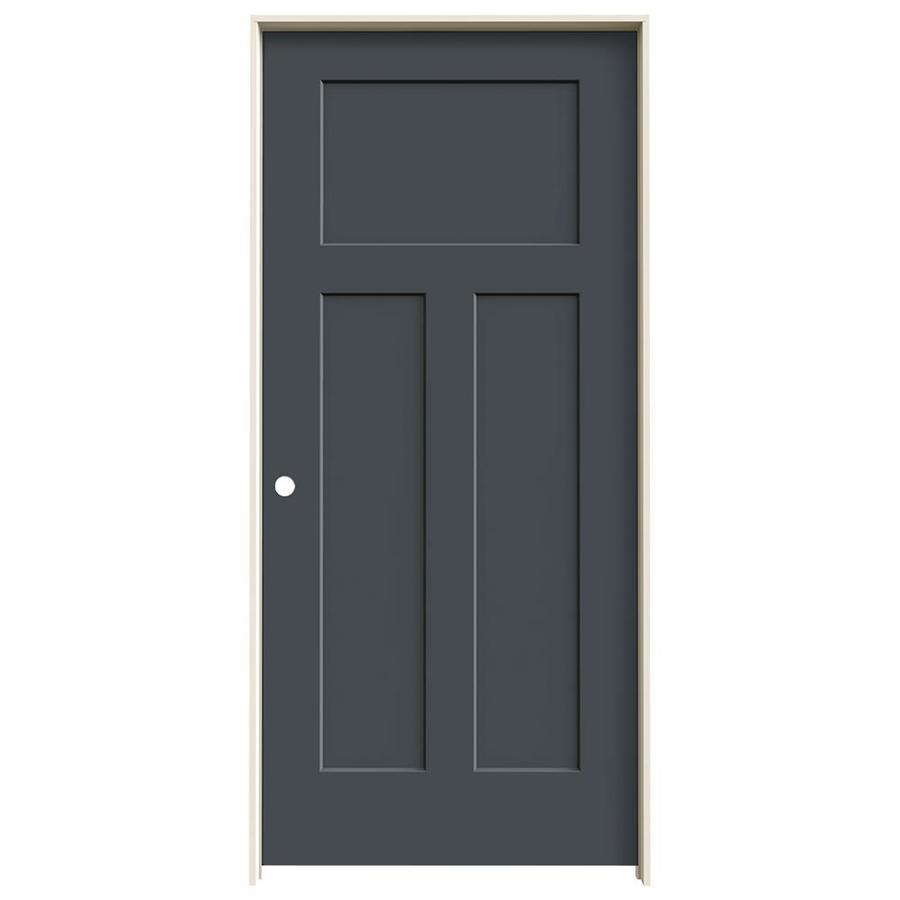 JELD-WEN Craftsman Slate 3-panel Craftsman Single Prehung Interior Door (Common: 36-in x 80-in; Actual: 37.562-in x 81.688-in)
