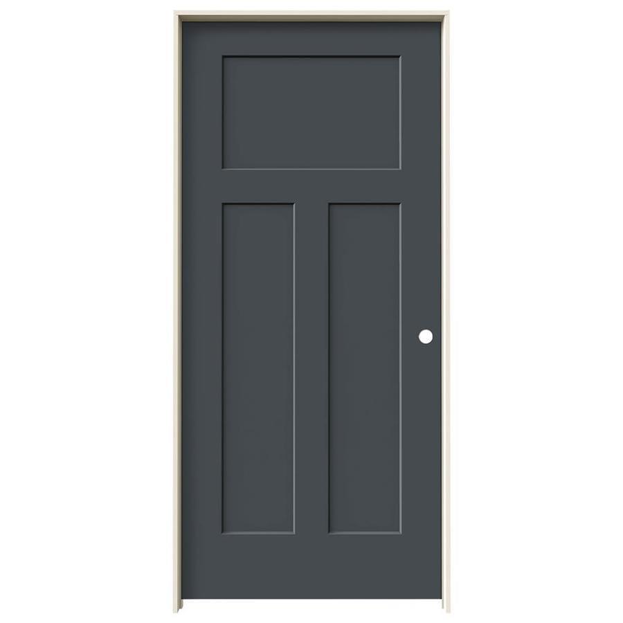 JELD WEN Craftsman Slate 3 Panel Craftsman Hollow Core Molded Composite  Single Prehung Door