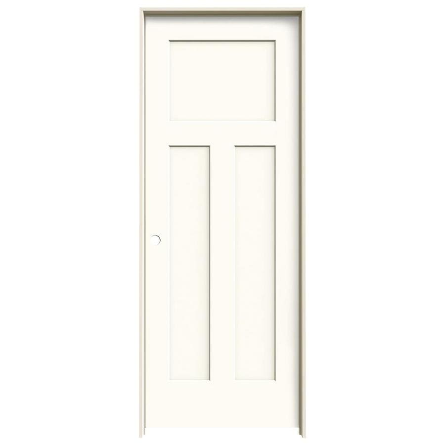 JELD-WEN Craftsman White 3-panel Craftsman Single Prehung Interior Door (Common: 28-in x 80-in; Actual: 29.562-in x 81.688-in)